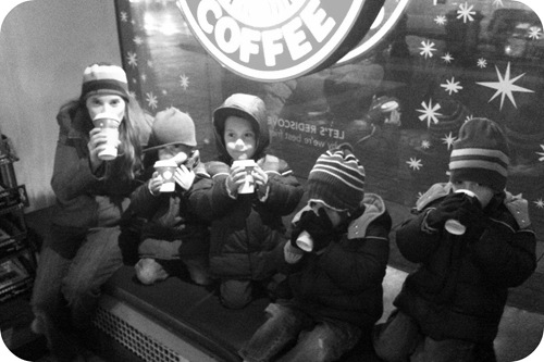 hot chocolate at monument circle of lights