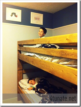 twins boys sharing bunk beds