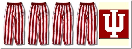 iu uniforms candy stripes and logo