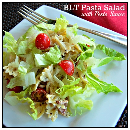 blt pasta salad with pesto sauce pinterest