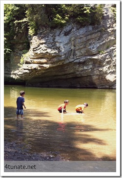 wading in sugar creek at turkey run