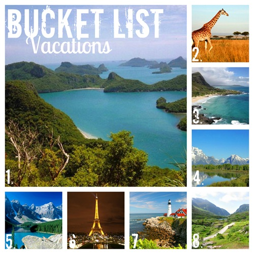 bucket list vacation collage