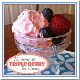 homemade no cook triple berry ice cream