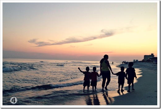 sunset family walk gulf shores alabama