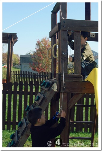 Simple Outdoor Adventures for Boys {Day 25}  Make a Zip Line for Toys