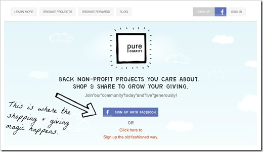 pure charity sign up screen shot