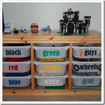 lego storage color coded bins