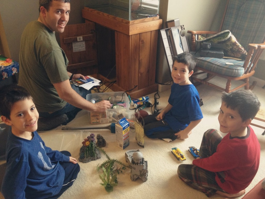 getting an aquarium ready for fish with kids
